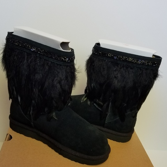 e90acdd605a UGG Peacock Feather Crystal Black Short Boots 10 NWT